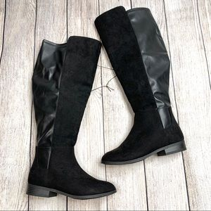 Time and Tru Black Faux Leather Knee High Boots